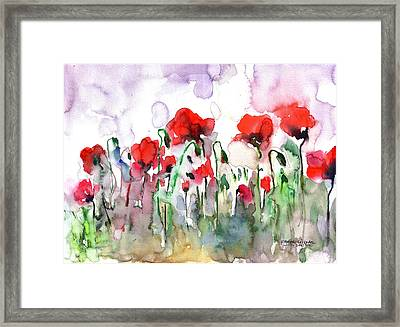 Framed Print featuring the painting Poppies by Faruk Koksal