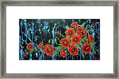 Poppies In A Modern Backgrownd Framed Print