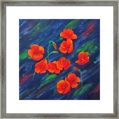 Poppies In Abstract Framed Print by Roseann Gilmore