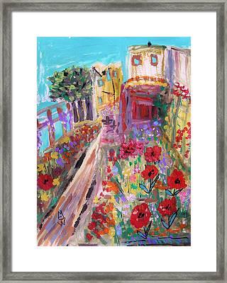 Poppies In Alcatraz Garden Framed Print by Mary Carol Williams