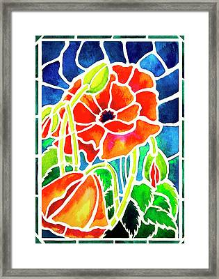 Poppies In Stained Glass Framed Print by Janis Grau