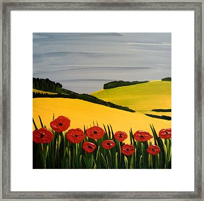 Poppies In The Hills Framed Print
