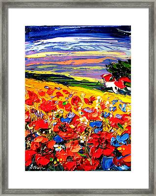 Poppies In The Spring Time.  Framed Print by Maya Green