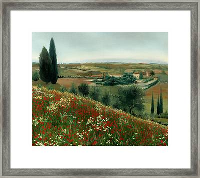 Poppies In Tuscany Framed Print by Leah Wiedemer