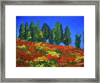 Poppies Landscape Framed Print by Mary Jo Zorad