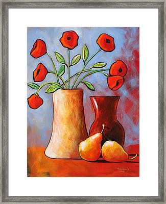 Poppies N Pears Framed Print by Toni Grote