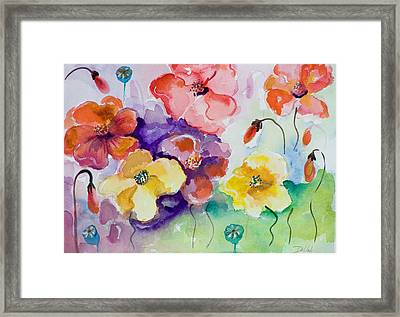 Poppies Of Color Framed Print by Delilah  Smith