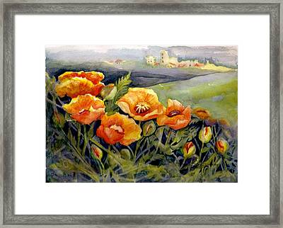 Poppies On A French Hillside Framed Print by KC Winters