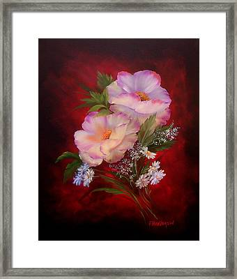 Poppies On Red Framed Print