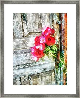 Poppies On Weathered Door 2 Framed Print