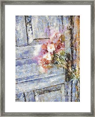 Poppies On Weathered Door Framed Print by Shirley Stalter