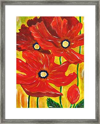 Poppies Painting  Framed Print by Linda Larson