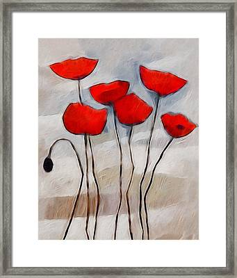 Poppies Painting Framed Print by Lutz Baar