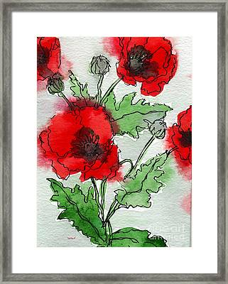 Watercolor Poppies Framed Print