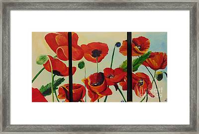 Framed Print featuring the painting Poppies by Saundra Johnson