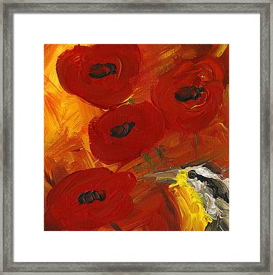 Poppies With Meadowlark Framed Print by Kelly Riccetti