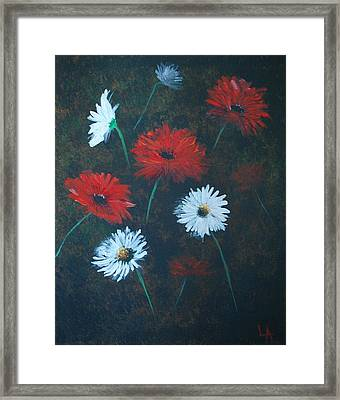 Framed Print featuring the painting Poppin Daisies by Leslie Allen