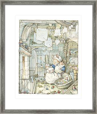 Poppy And Her Babies Sit By The Fire Framed Print by Brambly Hedge