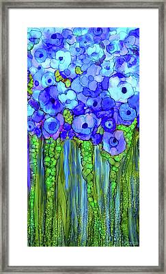Framed Print featuring the mixed media Poppy Bloomies 2 - Blue by Carol Cavalaris