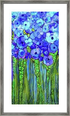 Poppy Bloomies 2 - Blue Framed Print