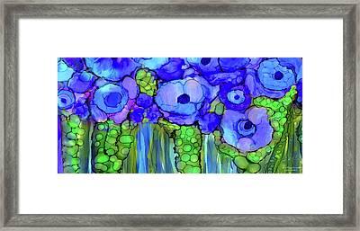 Poppy Bloomies 4 - Blue Framed Print