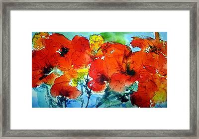 Poppy Bouquet Framed Print by Anne Duke