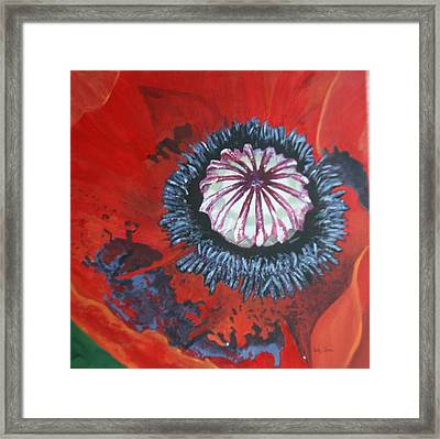 Framed Print featuring the painting Poppy Centre by Betty-Anne McDonald