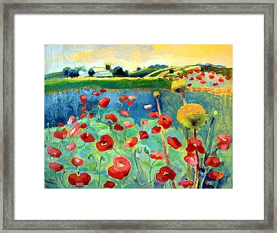 Poppy Farm Framed Print by Monique Sarkessian