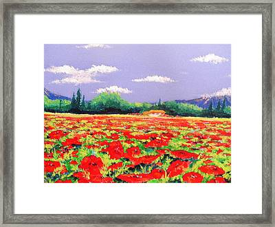 Poppy Field Framed Print by Anne Marie Brown