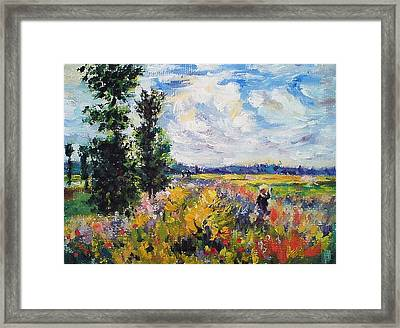 Poppy Field At Argenteuil Framed Print by Peter Kupcik