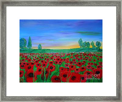 Poppy Field At Sunset Framed Print