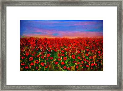 Framed Print featuring the painting Poppy Field by Evelina Popilian