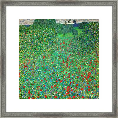 Poppy Field Framed Print by Gustav Klimt