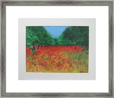 Poppy Field In Ibiza Framed Print by Lizzy Forrester