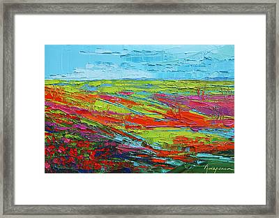 Poppy Field Modern Abstract Impressionistic Oil Painting Palette Knife Framed Print by Patricia Awapara