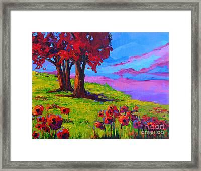Poppy Field Modern Landscape Colorful Palette Knife Work  Framed Print