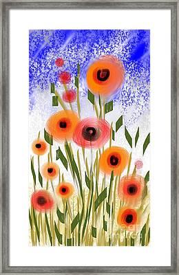 Poppy Garden Framed Print by Elaine Lanoue