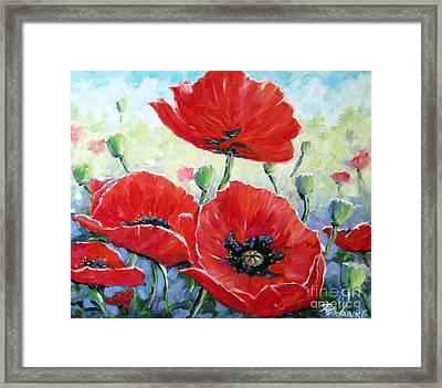 Poppy Love Floral Scene Framed Print by Richard T Pranke
