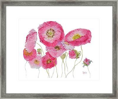 Poppy Painting On White Background Framed Print by Jan Matson