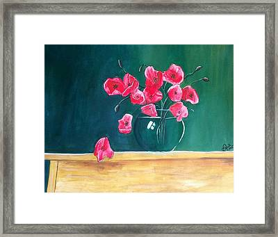 Framed Print featuring the painting Poppy Still Life by Carol Duarte
