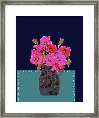 Framed Print featuring the painting Poppy Stille by Linde Townsend