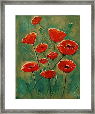 Framed Print featuring the painting Poppy Surprise by Leslie Allen