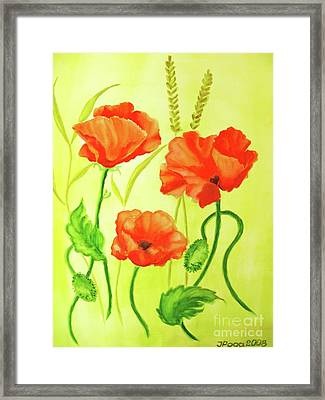 Framed Print featuring the painting Poppy Trio by Inese Poga
