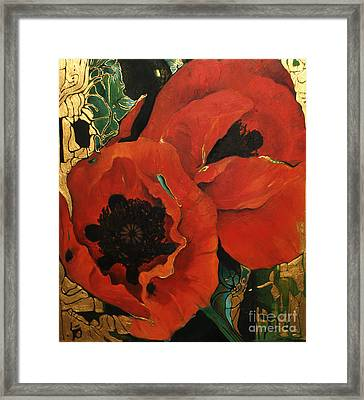 Poppygold Framed Print by Lin Petershagen