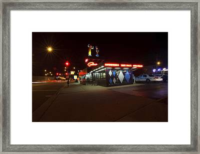 Popular Chicago Hot Dog Stand Night Framed Print