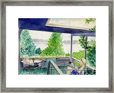 Porch At Lake Travis Framed Print by Fred Jinkins
