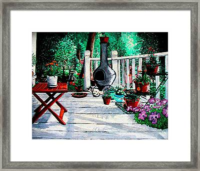 Porch Cat Sleeps Framed Print by Laura Brightwood