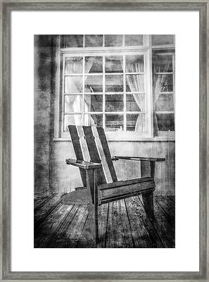 Porch Chair Framed Print by Debra and Dave Vanderlaan