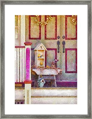 Porch - Cranford Nj - The Birdhouse Collector Framed Print by Mike Savad