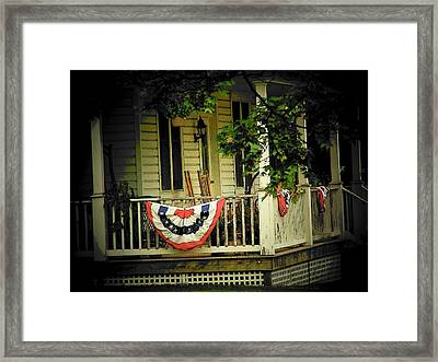 Porch Flag Framed Print by Michael L Kimble